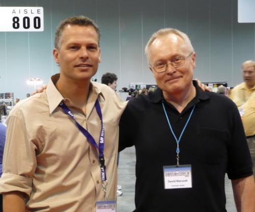 Jeff Carlson şi David Marusek la Worldcon-ul din august 2008, la Denver.